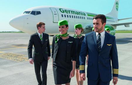 Mit diesem Unternehmensfoto hatte sich Germania im Sommer 2017 präsentiert, als am Flughafen Palma über das Sommerhalbjahr eine