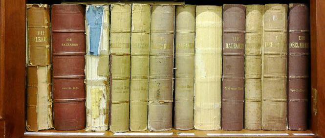 Kein Wunder, nach 150 Jahren: Die Bände in der Bibliothek der Fundación Bartolomé March sind zum Teil schon etwas ramponiert.