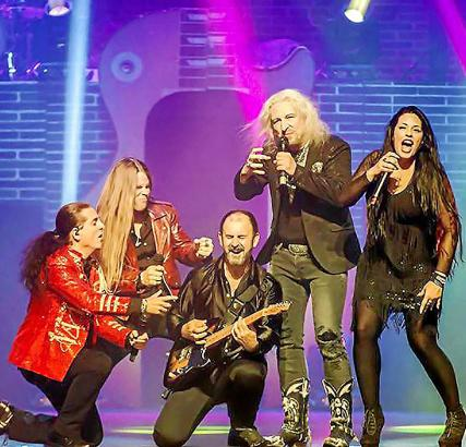 Rockgestählte und international erfolgreiche Sänger und Musiker stehen bei dem Spektakel im Auditorium auf der Bühne.
