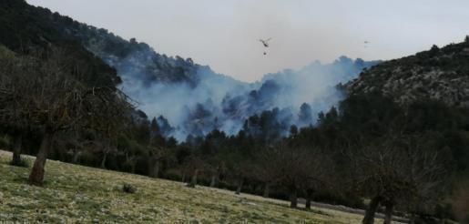 Über dem Bergwald stehen die Rauchschwaden, darüber kreist der Löschhubschrauber.