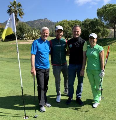 Golfrunde mit Florian Silbereisen (2.v.l.) auf dem Platz von Golf de Andratx in Camp de Mar: Immobilienunternehmer Günter Rusch