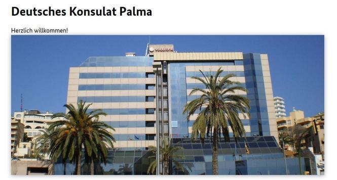 Die Webseite des deutschen Konsulats in Palma.