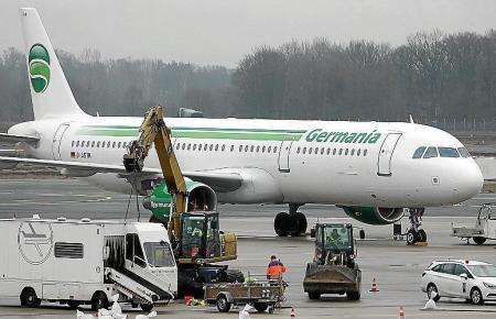 Blick auf einen Germania-Jet.
