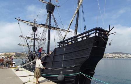 """Die """"Nao Victoria"""" nach ihrer Ankunft in Palma am Mittwoch."""