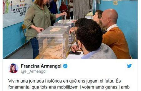 Die balearische Ministerpräsidentin Francina Armengol (PSOE) hat am Vormittag ihre Stimme bei der Parlamentswahl in Palma abgege