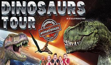 Werbeplakat für die Dinosaurier-Schau.