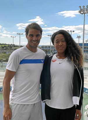 Rafael Nadal begrüßte Naomi Osaka in Manacor.