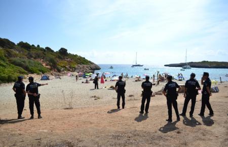Polizeieinsatz in der Cala Varques auf Mallorca.