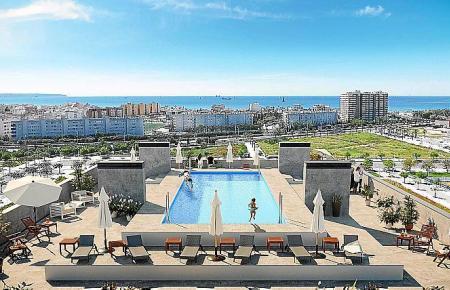 Der Gemeinschaftsbereich der neuen Luxus-Wohnungen im Gewerbegebiet Nou Llevant soll auch zwei Panorama-Pools bekommen.