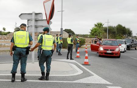 Eine Verkehrskontrolle auf Mallorca.