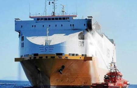 """Im Mai wütete ein Feuer auf dem Frachtschiff """"Grande Europa""""."""