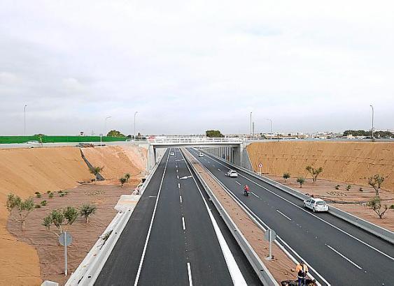 Das im März 2019 fertiggestellte Teilstück der Vía Conectora zwischen den Straßen nach Manacor und nach Son Ferriol.