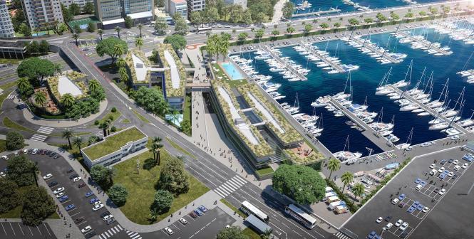 Die Fotomontage zeigt den künftigen Club de Mar Mallorca samt der diagonalen Querverbindung zwischen dem Paseo Marítimo und dem