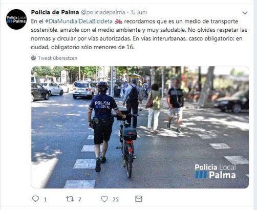 Palmas Lokalpolizei informiert wie hier neuerdings verstärkt auf Twitter über ihre Einsätze. Nun sind dort auch illegale Straßen