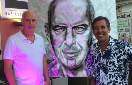 Galerist und Künstler Frank Krüger fertigte extra für den Anlass ein Porträt von Basler.