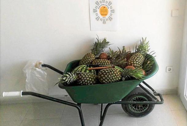 Diese Schubkarre mit Ananas konfiszierte die Polizei.