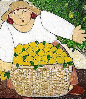 Zitronenernte, eines der ruralen Motiven von Hanne Holze.