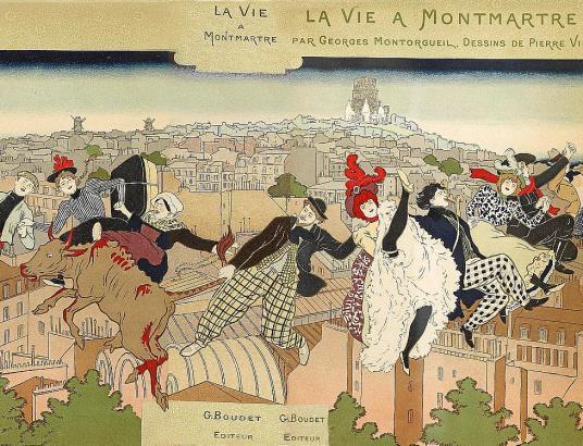 """""""Das Leben in Montmartre"""": Illustration von Pierre Marie Louis Vidal."""