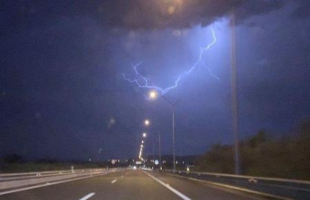 Nächtliches Gewitter auf Mallorca.