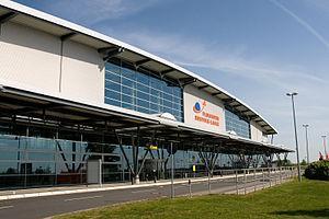 Blick auf den Flughafen Rostock-Laage.