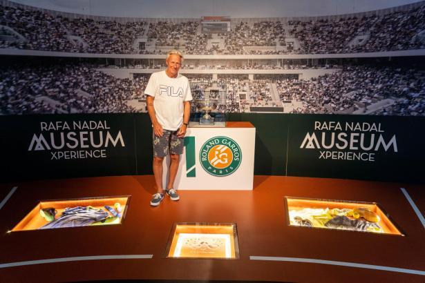 Björn Borg in dem Bereich des Nadal-Museums, der den French Open gewidmet ist.