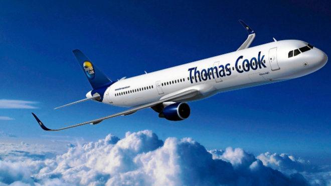 Blick auf einen Thomas-Cook-Jet.