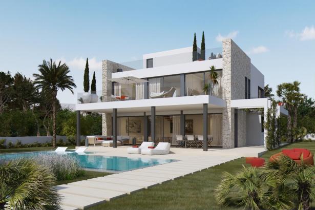 Die Rückansicht der Villa mit Pool.