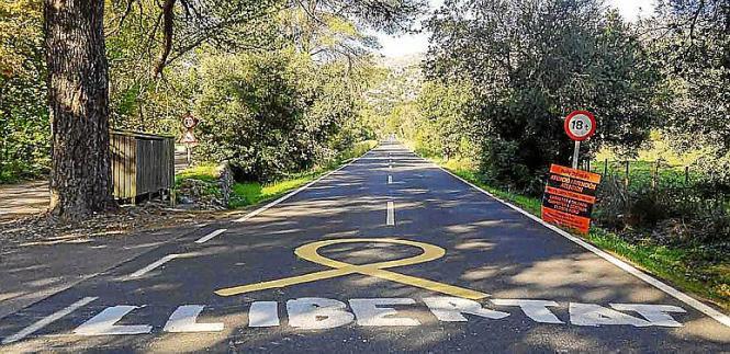 Gelbe Schleifen auf den Straßen bei Pollença