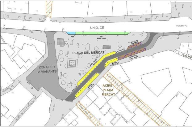 Karte vom umgestalteten Bereich um die und auf der Plaça Mercat.