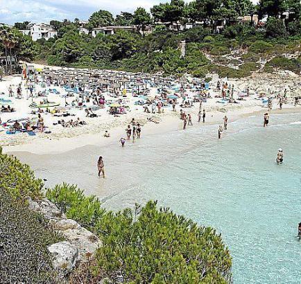 Blick auf die Cala Anguila im Sommer.