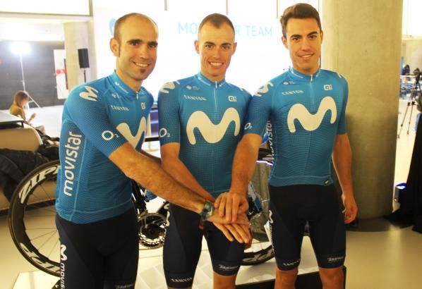 Die drei Balearen-Profis des Movistar-Teams am Rande der Präsentation ihrer Mannschaft (v.l.n.r.): Lluís Mas, Enric Mas und Albert Torres.