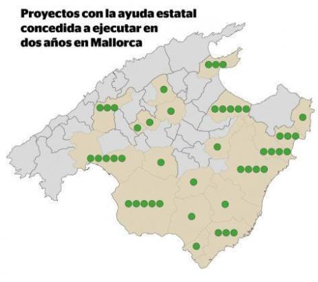 ie grünen Punkte der Grafik zeigen die Anzahl der geplanten Anlagen in den einzelnen Kommunen der Insel an.