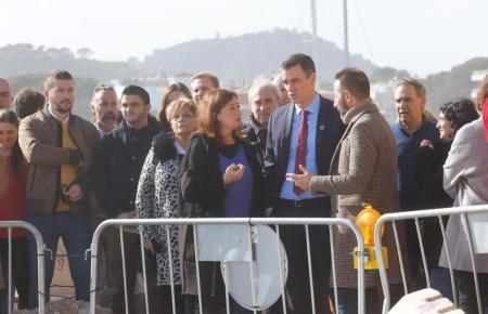 Regierungspräsident wurde von Francina Armengol in Cala Rajada empfangen, um sich ein Bild der Sturmschäden zu machen.