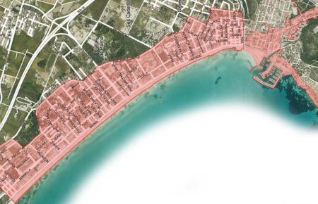 Die Karte zeigt, wo an der Playa de Palma das neue Trinkverbot gilt, nämlich vom Palma Aquarium im Westen bis einschließlich Arenal im Osten. Can Pastilla ist von den Regelungen ausgenommen.