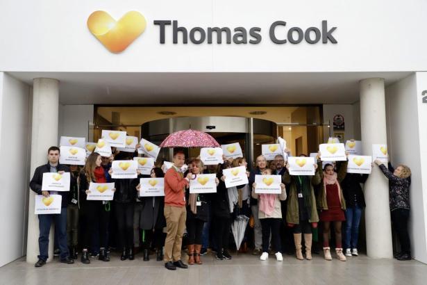 Die Mitarbeiter von Thomas Cook in Palma, hier bei einer Demo vor der Unternehmenszentrale im Gewerbegebiet Can Valero.
