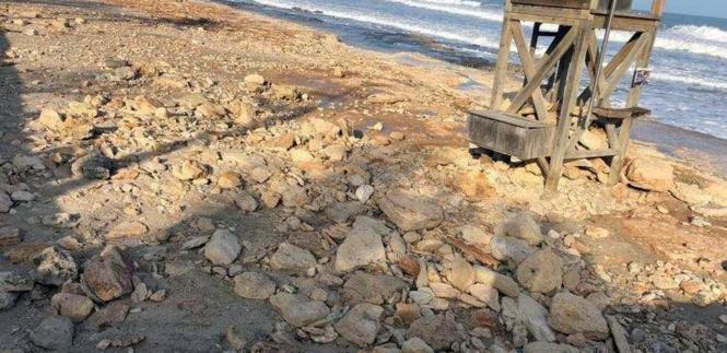 So sieht es an einigen Stellen am Strand von Cala Millor aus.