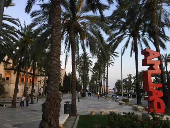 Palmas Palmen-Paseo de Sagrera an einem späten Samstagnachmittag am ersten Tag des Alarmzustandes gegen den Coronavirus.