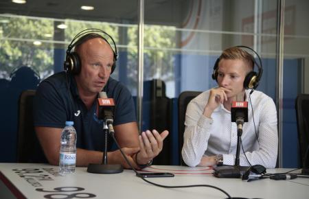 Atlético-Baleares-Boss Ingo Volckmann (l.) mit Patrick Messow, Sportdirektor des Clubs.