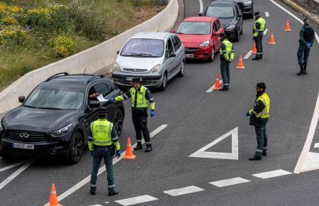 Autokontrolle auf Mallorca während des Alarmzustandes.