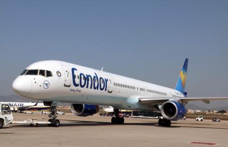 Flieger von Condor auf dem Flughafen von Palma.