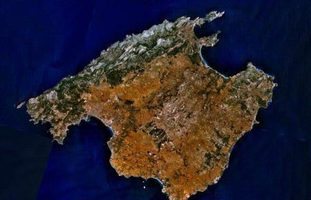 Satellitenfoto von Mallorca.