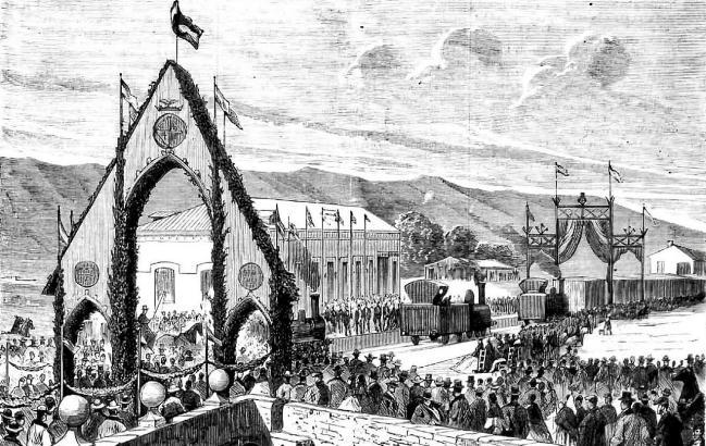 Einweihung von Eisenbahnstrecke auf Mallorca im 19. Jahrhundert.