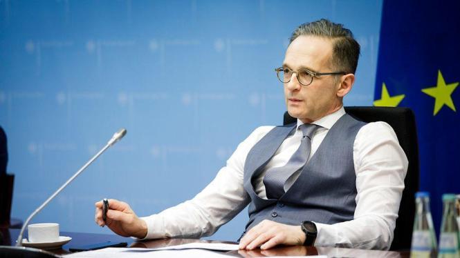 Außenminister Maas bei einer Videokonferenz.