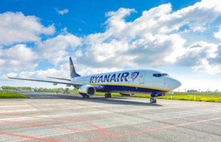 Blick auf einen Jet von Ryanair.