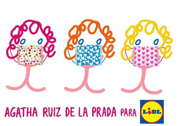 So sehen die drei verschiedenen von Agatha Ruiz de la Prada gestalteten Lidl-Masken aus.
