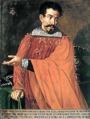"""Rebellenführer Joanot Colom wurde von den Königlichen ge-vierteilt. Heute ist er """"berühm-ter Sohn"""" der Stadt Palma."""