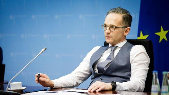 Außenminister Maas bei einer Videokonferenz,