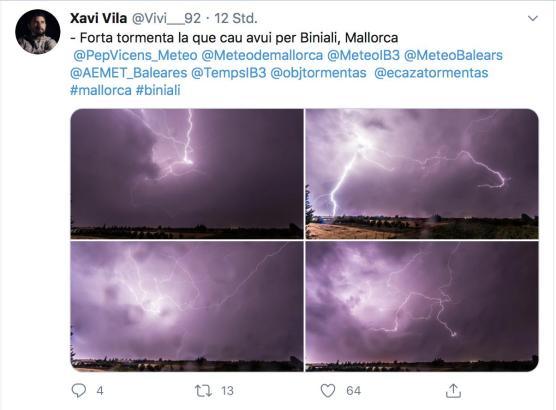 Bilder von Blitzen über Mallorca während des Unwetters am Sonntag.