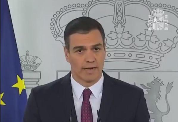 Der spanische Ministerpräsident Pedro Sánchez an diesem Samstag bei seiner letzten Fernsehansprache während des Coronavirus-Alarmzustands.