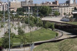 Polizisten drängen Sportler aus Park in Palma de Mallorca heraus